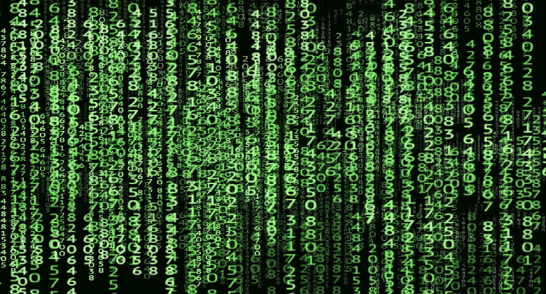 Green matrix styled numbers on a screen